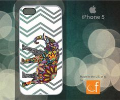 iPhone 5 Case Cheerful Elephant  Chevron WHITE or by CaseFase, $20.00