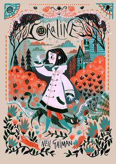 """Coraline"" by Neil Gaiman, illustration by Karl James Mountford und Poster Art And Illustration, Book Illustrations, Disney Illustration, Illustration Children, Character Illustration, Buch Design, Art Design, Design Ideas, Beautiful Book Covers"