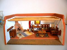 Miniature Southwestern Adobe Room with Wooden Dollhouse Furniture Signed by Artist 1:12 scale