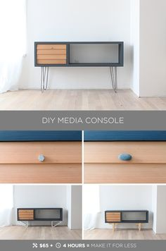 This DIY mid-century model media console is made from materials available at Home Depot for less than $100. Full instructions can be found at HomeMade-Modern.com.