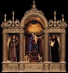 Giovanni Bellini's magnificent Madonna and Child with Saints Nicholas, Peter, Mark and Benedict (1488). It is in the sacristy of the Frari church in Venice, in the precise place and frame it was intended to be. I can look at this painting for hours (and have done so many times); it is simply sublime. And I'm an atheist by the way...