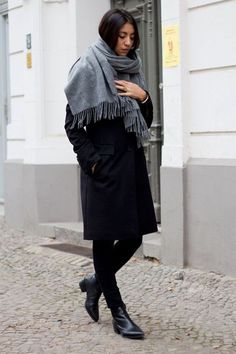 Blizzard Essentials For Every Winter Style Personality #refinery29  http://www.refinery29.com/best-blizzard-fashion-gear#slide-22  A must-have scarf that can be wrapped up as much or as little as you like.Genuine People Dark Gray Wool Scarf, $85.80 $67, available at Geniune People....