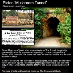 This simple train tunnel in Picton, New South Wales, has quite a bit of dark history and quite an active haunt! Head to this link for the full article: http://www.theparanormalguide.com/1/post/2013/01/picton-mushroom-tunnel.html