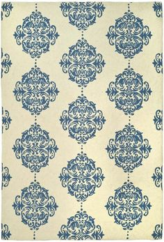 Add a pop of pattern to your living room or den with this hand-hooked wool rug, showcasing a scrolling medallion motif in ivory and blue. Wool Rug, Medallion Motif, Colorful Rugs, Blue Medallion, Medallion Rug, Rugs, Blue Wool Rugs, Area Room Rugs, Rug Hooking