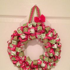Ribbon wreath for baby girl's door