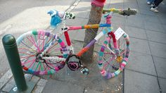 Yarn-Bombed Bicycle by mlcastle, via Flickr - http://www.flickr.com/photos/mlcastle/6070434345/#