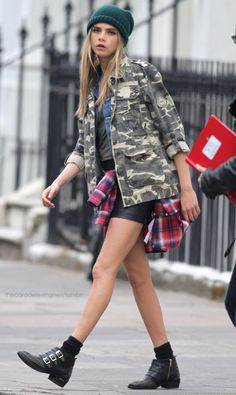 Cara Delevingne on the set of Pepe Jeans in London