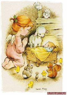 Birth of Christ. Sarah Key, Christmas Scenes, Christmas Angels, Vintage Christmas, Illustration Noel, Illustrations, Clipart Noel, Vintage Drawing, Holly Hobbie