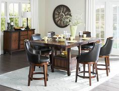 Bayshore 8 PC Counter Height Set (Table, 6 Swivel Counter Height Chairs and Server)