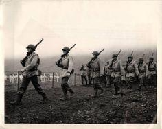 WWII U.S. Soldiers Pass Graves of Fallen Comrades on Attu Original Press Photo