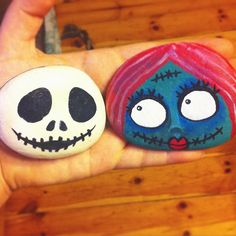 Did some matching #jackandsally #nightmarebeforechristmas stones today! …