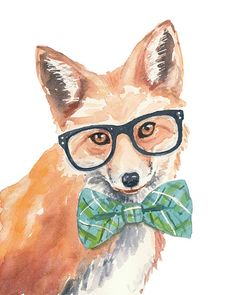 Original Fox Watercolor Painting - 8x10 Watercolour, Hipster Glasses, Bow Tie, Nerdy Animal