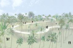 SANAA's proposal is for a reflective path that undulates through the palm trees and spirals up into the sky, offering a view across the palmeral and city. it stretches from the ground up to 64m.
