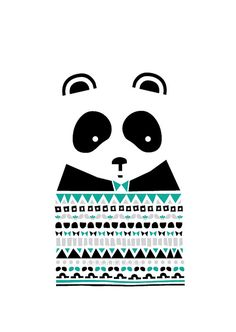 Panda Print - Well dressed, Animal Illustration, Geomertric Patterns, Drawings Illustration, Children Room, Kids room art, Nursery room Art