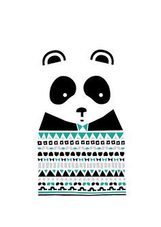 Panda Print - Well dressed, Animal Illustration, Geomertric Patterns, Drawings Illustration, Children Room, Kids room art, Nursery room Art
