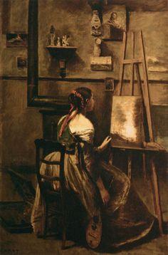 Camille Corot - Corot's Studio, 1873, oil on canvas, 63 x 42 cm