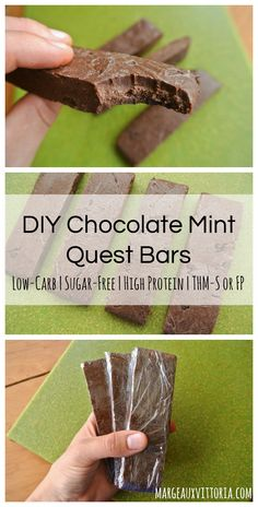 DIY Chocolate Mint Quest Bars - these are so fudgy and delicious! Plus, they're easy to make and way more affordable than the real thing :) Bars DIY Chocolate Mint Quest Bars Diy Protein Bars, Protein Brownies, Healthy Protein Snacks, Protein Bar Recipes, Protein Powder Recipes, Thm Recipes, Keto Snacks, Keto Desserts, Low Calorie Protein Bars