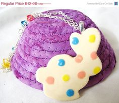 Easter Sale 20% off Rabbit, Necklace, Easter Jewelry, Bunny Necklace, White Rabbit, Spring, Polka Dots, Bunny Pendant