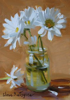 """Daily Paintworks - """"Summer Daisies"""" - Original Fine Art for Sale - © Elena Katsyura Arte Floral, Oil Painting Flowers, Watercolor Paintings, Daisy Painting, Acrylic Flowers, Still Life Flowers, Still Life Art, Acrylic Art, Fine Art Gallery"""