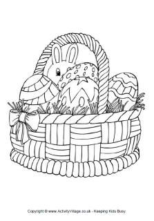 Easter basket colouring page, Easter colouring pages