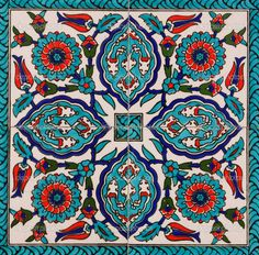 I love the color palette on Turkish tiles.Kelsey wants a quilt inspired by these tiles Tile Art, Mosaic Art, Mosaic Tiles, Wall Tiles, Red Tiles, Cement Tiles, Turkish Design, Turkish Art, Turkish Tiles