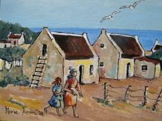 Artist Marie Theron Chronicles the West Coast of South Africa: April 2009 House Landscape, Landscape Art, Landscape Paintings, House Painting, Painting & Drawing, Fishermans Cottage, Dutch House, Cottages By The Sea, South African Artists