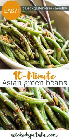 These Asian Green Beans are crispy tangy spicy and highly addictive! These Asian Green Beans are crispy tangy spicy and highly addictive! Asian Style Green Beans, Chinese Green Beans, Spicy Green Beans, Garlic Green Beans, Green Style, Paleo Recipes Easy, Spicy Recipes, Veggie Recipes, Asian Recipes
