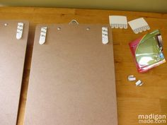 how to hang clipboards on the wall, including using a chalk line - details at madiganmade.com