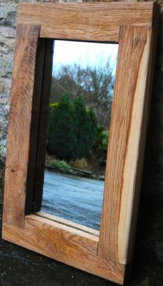 WOODEN MIRROR HANDMADE OAK FRAME, RUSTIC, CHUNKY, 6MM PIlKINGTON GLASS