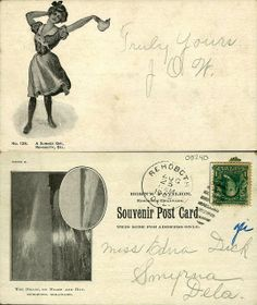 """1905 postcard featuing """"A Summer Girl"""" in Rehoboth, Del. From the George and Irene Caley Postcard Collection donated to the Delaware Public Archives.  www.archives.delaware.gov"""