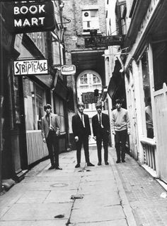 """Beatles near the Blue Posts pub (London) ~ photo by Dezo Hoffmann on July 2, 1963, from his """"A Day In The Life Of The Beatles"""" sessions"""