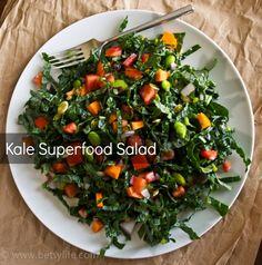 Kale Superfood Salad: I use light Raspberry Vinegrette. Does not look or sound good, but believe me it tastes really good. Bonus, it is healthy!!