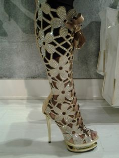 Crystal flower cut-out ribbon lace-up platform boots. WHOA.