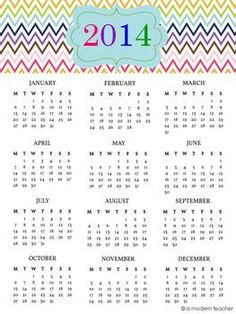 2014 Year at a Glance Freebie {One-Pager}