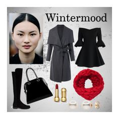 """""""Black/Grey"""" by ririhara on Polyvore featuring Chicwish, Stuart Weitzman, Diophy, winterstyle, wintersweater and sharplook"""