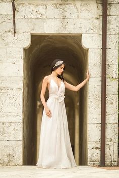Graceful Chiffon Wedding Dress with a Flower Sash | Mike Larson Photography | A Romantic Tuscan Bridal Shoot
