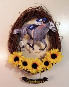 Preakness Stakes Race Horse Wreath by artbysonny on Etsy