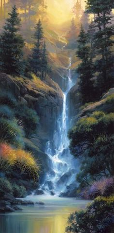Landscape artist Charles Pabst brings color and light to Kaibab Canyon Falls and is featured at Marcus Ashley Gallery. Fantasy Art Landscapes, Fantasy Landscape, Landscape Art, Landscape Paintings, Beautiful Paintings, Beautiful Landscapes, Waterfall Paintings, Nature Wallpaper, Nature Pictures