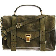 Proenza Schouler PS1 Medium Shoulder Bag ($1,780) ❤ liked on Polyvore featuring bags, handbags, shoulder bags, purses, bolsas, accessories, green, hand bags, brown leather handbags and handbags shoulder bags