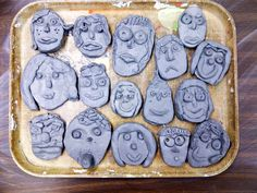 clay self portraits; quick one day project we did after drawing a portrait using a mirror the week before.