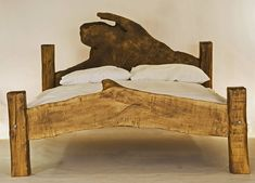 Rustic Handmade King-Size Wooden Bed by Kwetu