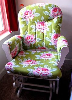 recovered glider rocker, not a fan of this fabric but I have to recover my chair. It looks horrible with stains.