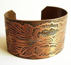 Etched Copper Cuff Art Nouveau Floral