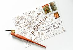 This typography art envelope tutorial shows you how to make some amazing mail art, and provides you with a printable template so you can make this envelope! Calligraphy Envelope, Envelope Art, Learn Calligraphy, Envelope Design, Calligraphy Alphabet, Islamic Calligraphy, Caligraphy, Free Stuff By Mail, Free Mail