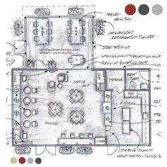 Coffee shop remodel floor plan option 1/3. #tfdredpointproject #interiordesign #interiordesigner #interiorarchitecture #urbanrenewl #handdrafting #handrendering #floorplan