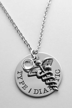"Hand stamped medical necklace - Medical Alert necklace - Silver medical necklace - Diabetes - Epilepsy - Allergic to - Diabetic - Epileptic on Etsy, $26.00 ( June birthstone, ""Nut Allergy"" on a disc, chain #1)"