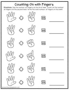 Adding Numbers With Pictures Preschool Writing, Numbers Preschool, Preschool Learning Activities, Teaching Math, Math Math, Kindergarten Addition Worksheets, Printable Preschool Worksheets, Free Kindergarten Worksheets, Math For Kids