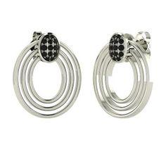 Round Black Diamond  Earrings in 14k White Gold