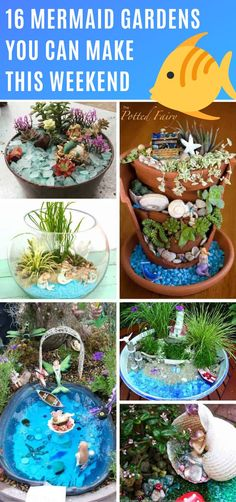 These mermaid gardens are a whole new take on fairy gardens, and filled with mystical sea-based treasures. Make one for yourself or with your daughter! garden ideas preschool 16 Magical Mermaid Gardens You Can Make in An Afternoon Terrarium Diy, Garden Workshops, Mermaid Crafts, Mermaid Fairy, Flower Pots, Garden Design, Diys, Fairy Gardens, Miniature Gardens