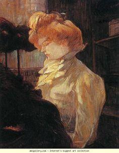 Henri de Toulouse-Lautrec. La Modiste/The Milliner - Mlle Louise Blouet, dite d'Enguin. Olga's Gallery.